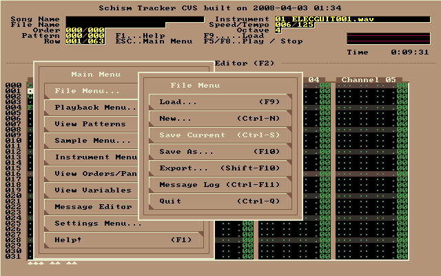 Schism : Main menu